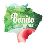 Map of Mato Grosso do Sul state with image of Bonito MS inside,. The eco touristic city, written `Bonito MS`. Illustration concept with a photo of boat ride on Royalty Free Stock Photos