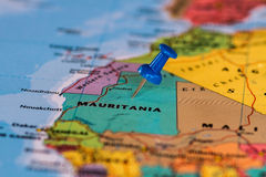 Map of Mauritania with a blue pushpin stuck. Map of the state of Mauritania Royalty Free Stock Photo