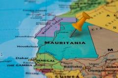 Map of Mauritania with a orange pushpin stuck Stock Images