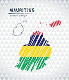 Map of Mauritius with hand drawn sketch pen map inside. Vector illustration. Vector sketch map of the Mauritius with flag, hand drawn chalk illustration Royalty Free Illustration