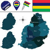 Map of Mauritius with Named Districts Royalty Free Stock Images