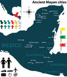 Map of the Mayan cities. Vector map of the largest Mayan cities Stock Photos