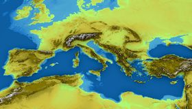 Map of the Mediterranean Sea and Europe. Map of the Mediterranean Sea and Europe, map of heights, sea bottom, Africa and Middle East, 3d render. Physical map Royalty Free Stock Images