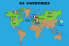 Map of Members of the G8 group vector illustration