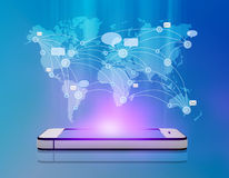 Map messages and chat over mobile phone. Stock Photography