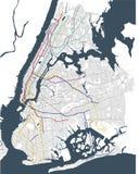 Map metro of the New York City, NY, USA. Illustration map metro of the New York City NY , USA Royalty Free Stock Photo