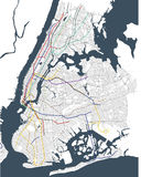 Map metro of the New York City, NY, USA Royalty Free Stock Images
