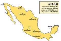 Map of Mexico Royalty Free Stock Photos