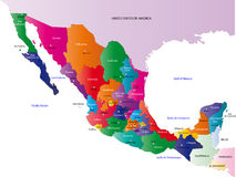 Map of Mexico. Mexico map designed in illustration with the states colored in bright colors and with the main cities. On an illustration neighbouring countries