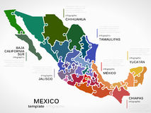 Map of Mexico. Concept infographic template with states made out of puzzle pieces vector illustration
