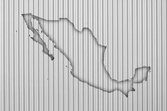 Map of Mexico on corrugated iron. Colorful and crisp image of map of Mexico on corrugated iron royalty free stock photography