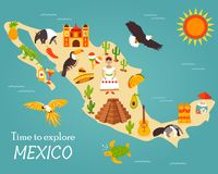 Map of Mexico with destinations, animals, landmarks.  vector illustration