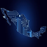 Map of Mexico with electronic circuit Stock Photo