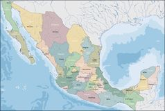 Map of Mexico Royalty Free Stock Photo