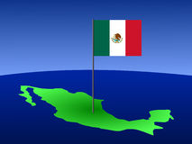 Map of Mexico with flag. Map of Mexico and Mexican flag on pole illustration Stock Photo