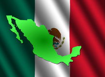 Map of Mexico on flag Stock Photos