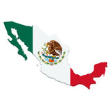 Map of Mexico with flag on white Stock Image