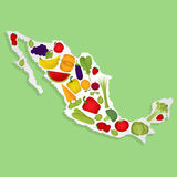 Map of Mexico with fruits Stock Photos