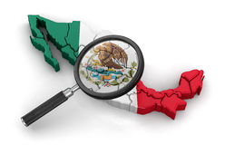 Map of Mexico with loupe Stock Photography