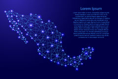 Map of Mexico from polygonal blue lines, glowing stars vector illustration. Map of Mexico from polygonal blue lines and glowing stars vector illustration Royalty Free Stock Photo