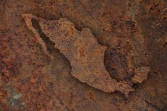 Map of Mexico on rusty metal. Colorful and crisp image of map of Mexico on rusty metal royalty free stock photo