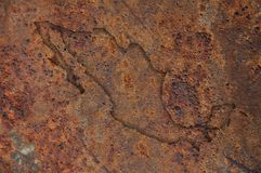 Map of Mexico on rusty metal. Colorful and crisp image of map of Mexico on rusty metal stock image