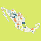 Map of Mexico with technology icons Royalty Free Stock Image