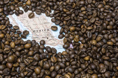 Map of Mexico under a background of coffee beans. Geographical map of Mexico covered by a background of roasted coffee beans. This nation is between the ten main royalty free stock images