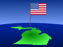 Map of Michigan with Flag Stock Photography