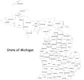 Map of Michigan state. Designed in illustration with the counties and the county seats. (Map is hight resolution vector illustration