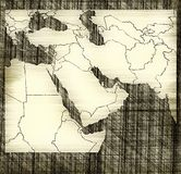Map of Middle East Royalty Free Stock Photography