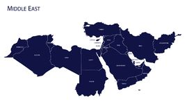 Map of Middle East. Vector royalty free illustration