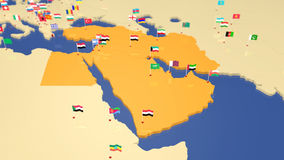 Map of Middle East with national flags Stock Photography