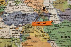 Map of Middle East Shows Syria as Hot Spot royalty free stock photos