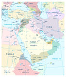 Map of Middle East and Southwest Asia. Royalty Free Stock Photography