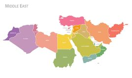 Map of Middle East. Vector. Colorful Map of Middle East with names. Vector royalty free illustration