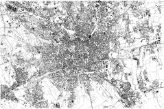 Map of Milan, city, Lombardy, Italy. Map of Milan, satellite view, city, Lombardy, Italy. Vector map Stock Photo