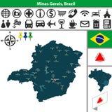 Map of Minas Gerais, Brazil Stock Photography