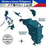 Map of Mindoro island, Philippines Stock Photos