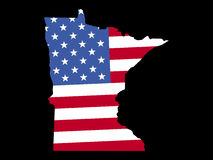 Map of Minnesota with flag Stock Photography