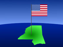 Map of Mississippi with Flag Royalty Free Stock Photography