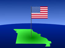 Map of Missouri with Flag Stock Photo