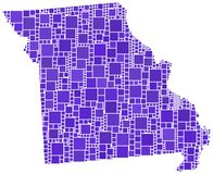 Map of Missouri (USA) Royalty Free Stock Photos