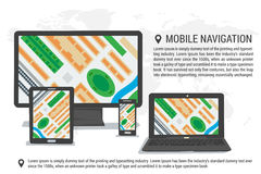 Map and mobile navigation on various devices Royalty Free Stock Images