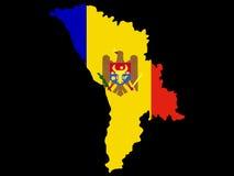 Map of Moldova. And moldavian flag illustration Royalty Free Stock Images