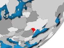 Map of Moldova. 3D render of Moldova on political globe. 3D illustration Stock Images