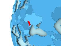 Map of Moldova. 3D render of Moldova in red on blue political globe. 3D illustration Royalty Free Stock Images