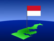 Map with Monacan flag Royalty Free Stock Photos