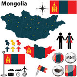 Map of Mongolia Stock Photo