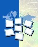 Map and monitors. Conceptual image of map and computer monitors with blank white screens so as additional photos or text may be dropped in, displayed against an Royalty Free Stock Image